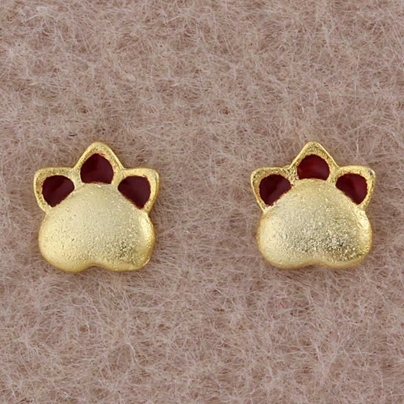 Prawdziwe 925 Sterling Silver biżuteria dla kobiet śliczne koty ślady kolczyk Stud mały kolczyk Stud dla dziewczynek hurtownia