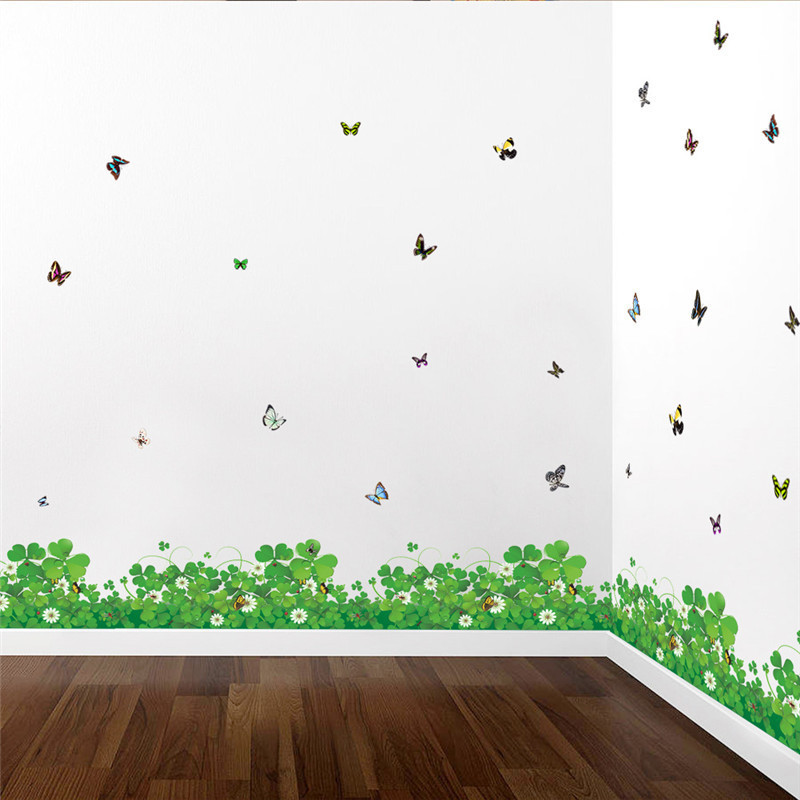 DIY Nature Colorful Flowers Grass Wall Sticker Home Decor Dragonfly 3d Wall Decals Floral TV