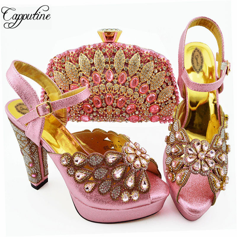 Capputine New Arrival Woman Shoes With Matching Bags Set African Rhinestone High Heels 10M Shoes And Matching Bag Set For PartyCapputine New Arrival Woman Shoes With Matching Bags Set African Rhinestone High Heels 10M Shoes And Matching Bag Set For Party