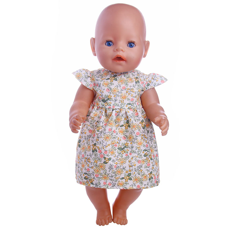 Small floral dress Doll Clothes Wear fit 18 inch American Girl,43cm Baby Born zapf, Children best Birthday Gift N1121 2color choose leisure dress doll clothes wear fit 43cm baby born zapf children best birthday gift only sell clothes
