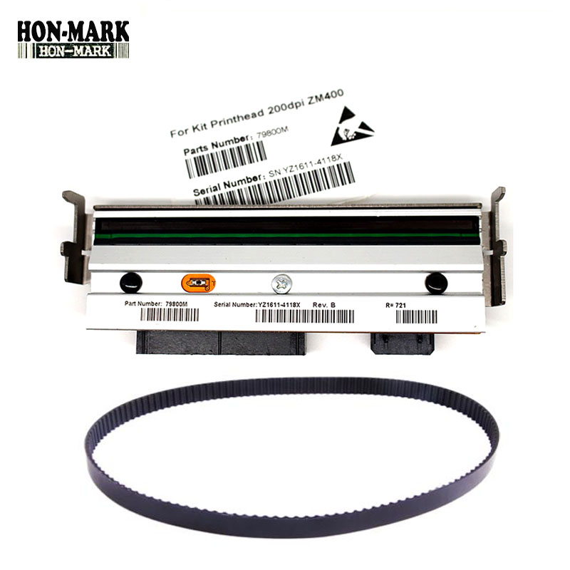Compatible 79800M Print Head PrintHead+79866M Main Drive Belt For Zebra ZM400 203dpi Thermal barcode label printers kit main logic board 105sl 4mb for zebra 105sl label printers 34901 020m thermal barcode label printers