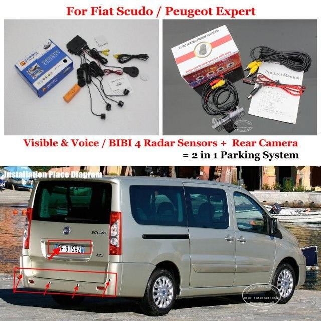 For Fiat Scudo / Peugeot Expert - Car Parking Sensors + Rear View Camera = 2 in 1 Visual / BIBI Alarm Parking System