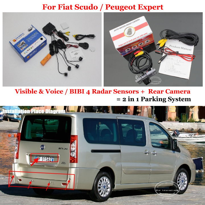 Liislee For Fiat Scudo / Peugeot Expert - Car Parking Sensors + Rear View Camera = 2 in 1 Visual / BIBI Alarm Parking System car parking sensors rear view camera 2 in 1 visual bibi alarm parking system for subaru forester sj 2012 2015