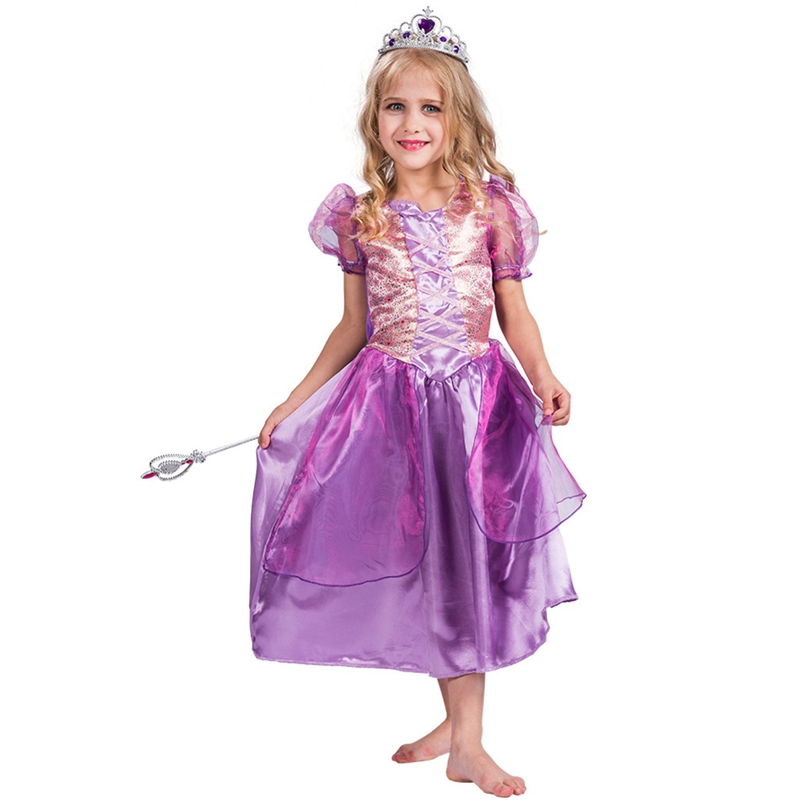 Girls Fairytale Purple Shinning Princess Costume Book Week Fancy Dress Outfit