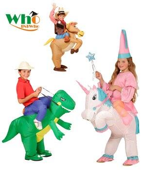 Животных надувной динозавр ковбой Единорог Костюм Рождественский карнавальный костюм детский день Пурим Хэллоуин для детей