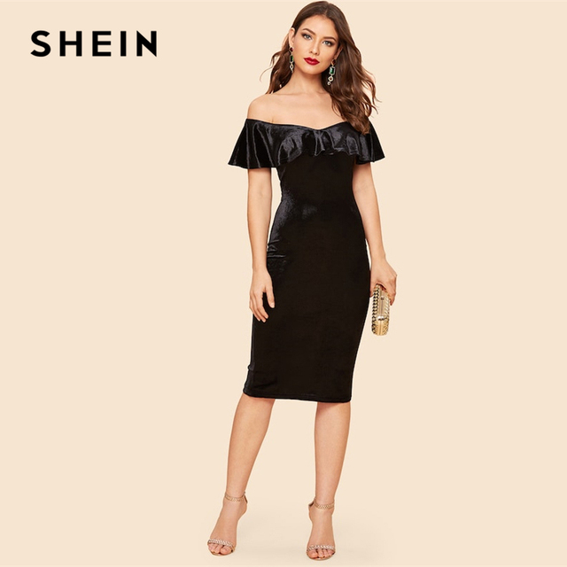 8966285c82d4 SHEIN Party Black Zip Back Foldover Front Split Hem Bodycon Velvet Plain  Slim Dress V Neck