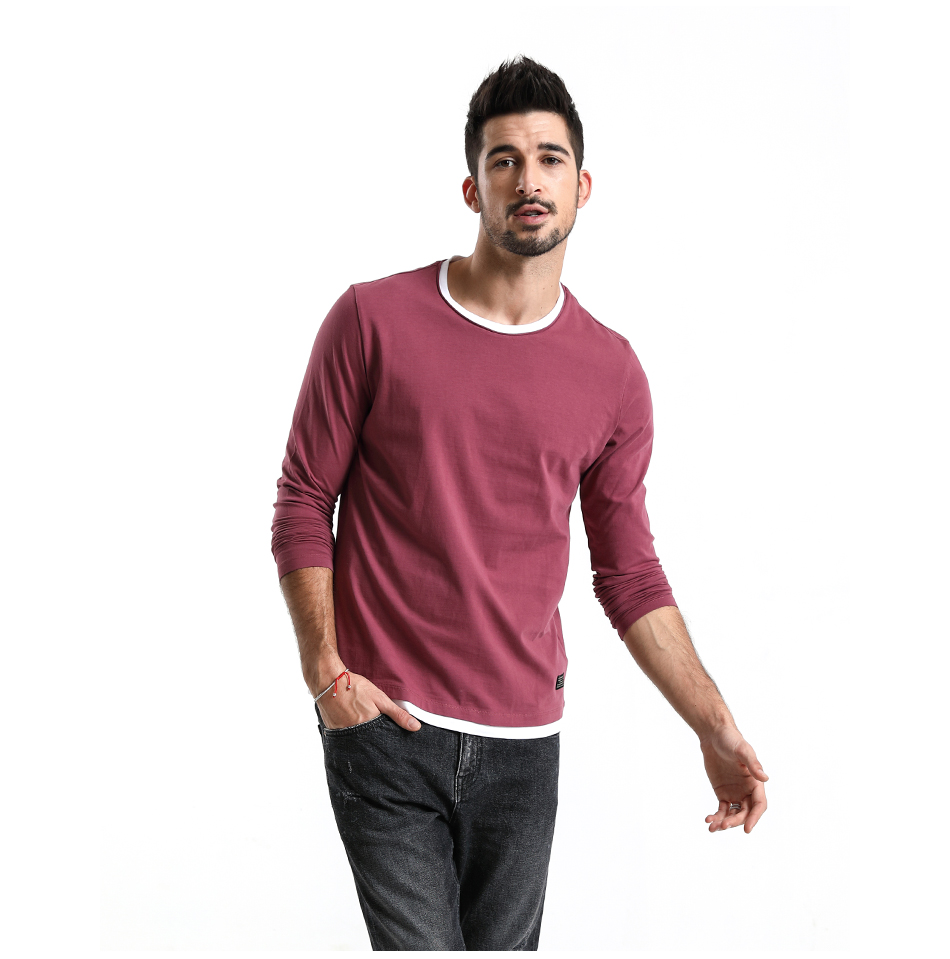 SIMWOOD 2019 Spring New Fake Double Layered T-Shirt Men Long Sleeve 100% Cotton Fashion Tops High Quality Slim Fit Tees 180109