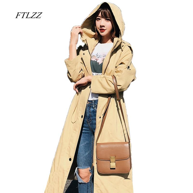 Ftlzz New Spring Autumn Fashion Casual Women's   Trench   Coat Plus Hoodie Windbreaker Button Lightweight Raincoat Overcoat