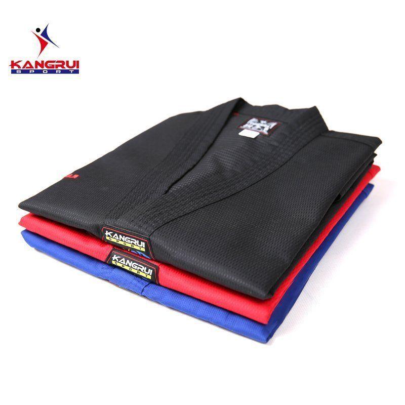 цена на Poomsae Taekwondo Uniform colorful red blue black coach dobok adult Tae kwon do dobok WTF Black V-Neck TKD Uniform Training