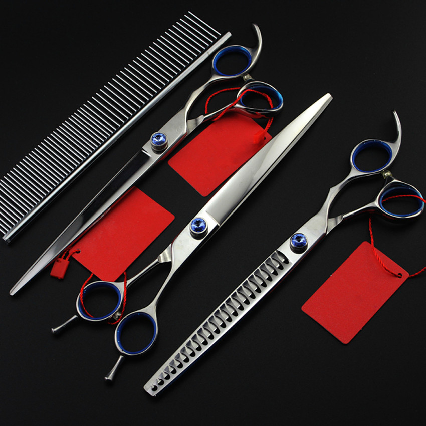 High quality Professional 4 kit 8 inch pet shears dog grooming thinning hair scissors cutting barber tools hairdressing scissors 4 kit professional 8 inch pink pet grooming shears cutting hair scissors case dog grooming thinning barber hairdressing scissors
