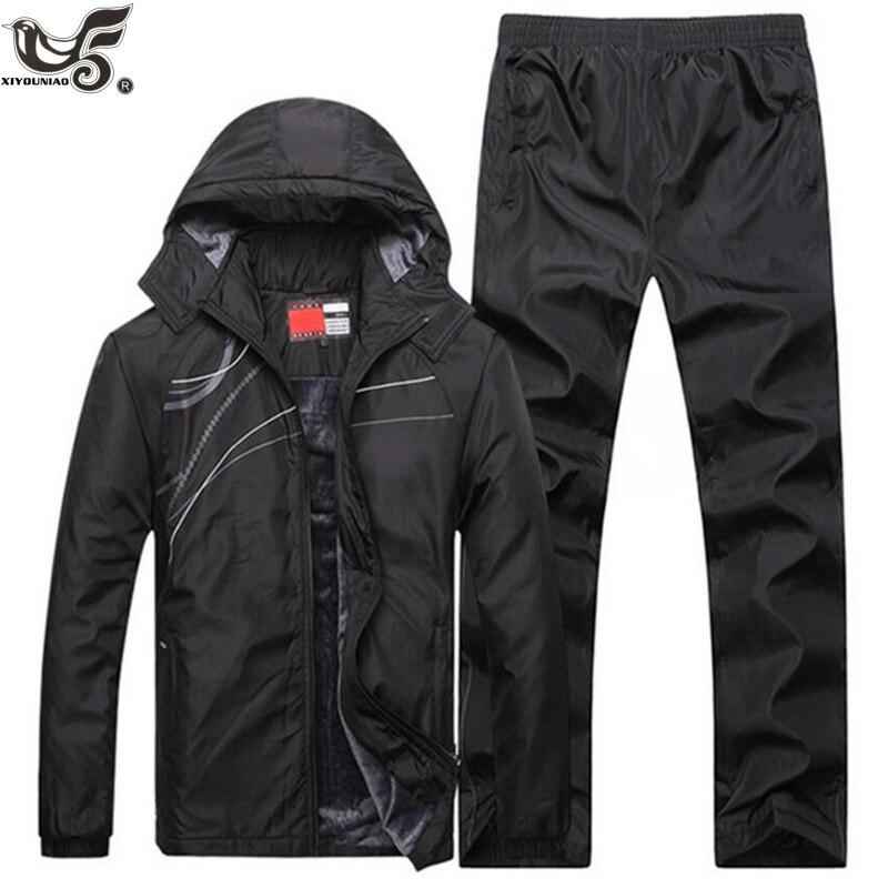XIYOUNIAO ฤดูหนาว Tracksuits ผู้ชายชุด Thicken ขนแกะ Hoodies + กางเกงชุดสบายๆกีฬา Hoodie Jacket-ใน ชุดผู้ชาย จาก เสื้อผ้าผู้ชาย บน AliExpress - 11.11_สิบเอ็ด สิบเอ็ดวันคนโสด 1