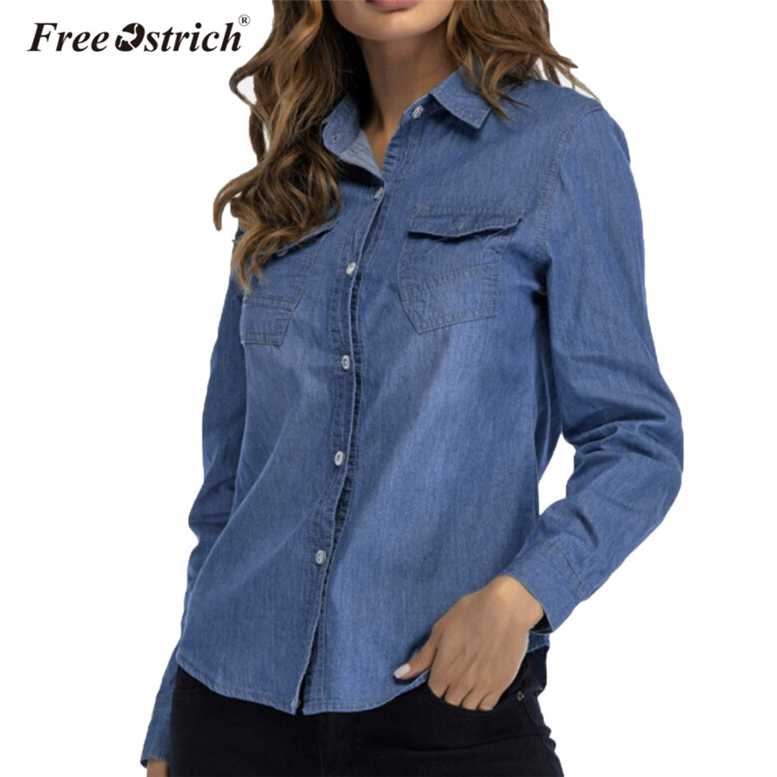 654c27816c Free Ostrich Dark Blue Denim Shirt Women Long Sleeve Buttons Pockets Casual Women  Tops Turn-