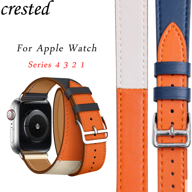 9536b46b29d Leather strap For apple watch band 4 42mm 38mm Hermes Double Tour correa  44mm 40mm watchband iwatch series 4 3 2 1 wrist belt
