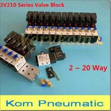 متعددة 2 ~ 20 صف 3V210 08 الكهرومغناطيسية كتلة صمام الملف اللولبي مع الخمار المناسب قاعدة متعددة تيار مستمر 12 فولت 24 فولت التيار المتناوب 110 فولت 220 فولت 3 ميناء