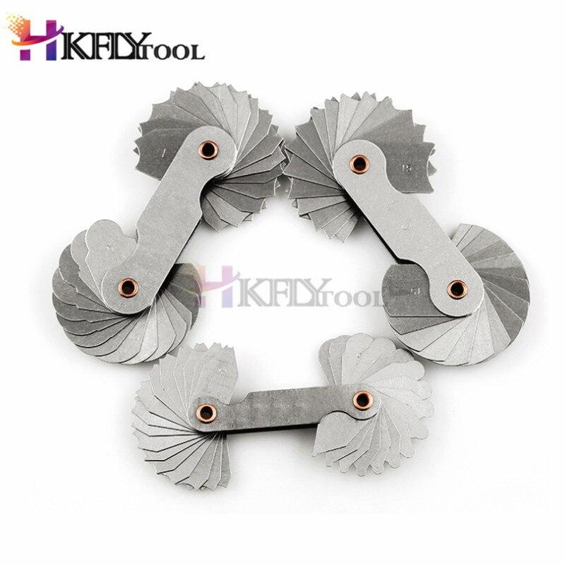 4 pçs de aço inoxidável raio filé calibre ferramenta de medição l côncavo convexo arco 1-6.5/R7-14.5/R15-25/R26-80mm