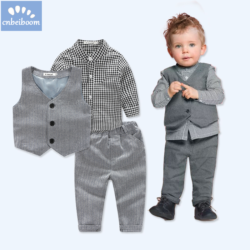 2018 New Trendy Baby Boy Clothes 3pcs Sets Vest + Plaid Shirt + Pants Gentleman Kids Party Wedding Boys Newborn Birthday Suits 3pcs baby boy clothing suits solid white shirt vest striped pants casual children party costumes kids spring autumn sets 088f