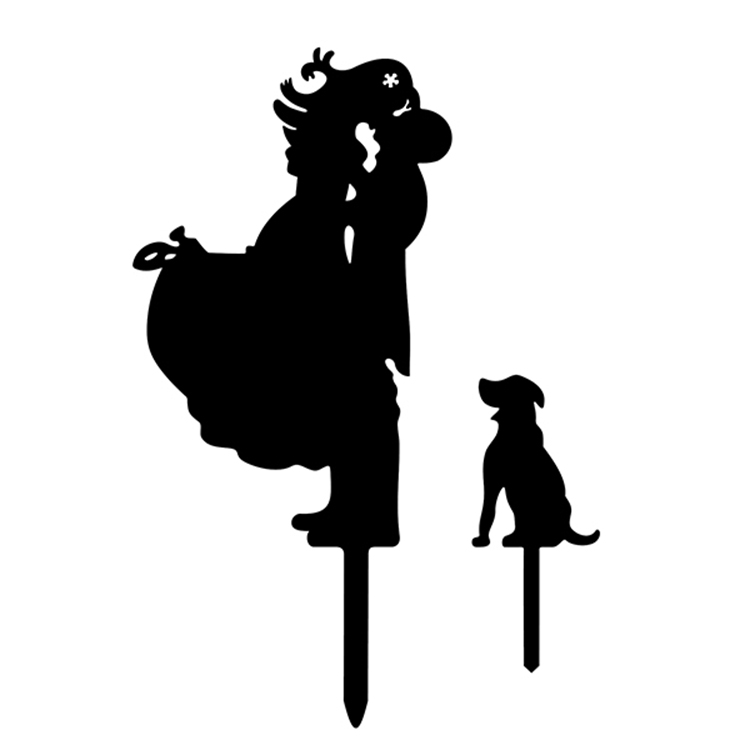 4 Colors Acrylic Bride Groom Cake Flag Toppers Mr & Mrs With Pet Dog For Wedding Anniversary Party Cake Decor Hot Sale