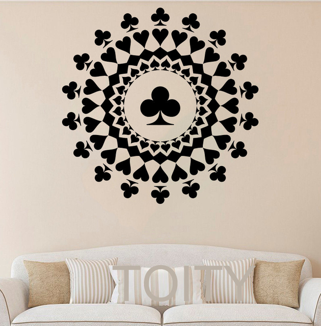 Poker wall stickers card pattern vinyl decals home living room interior design decor bedroom art murals