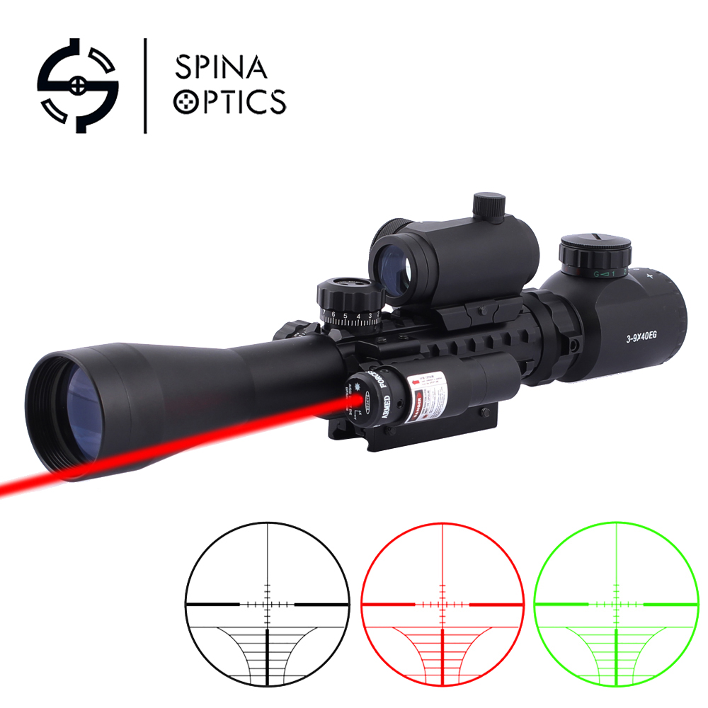 Hunting Rifle Scope 3-9x40 EG Red and Green Illuminated With Red Laser Sight And Holographic Dot Sight For 20mm RailsHunting Rifle Scope 3-9x40 EG Red and Green Illuminated With Red Laser Sight And Holographic Dot Sight For 20mm Rails