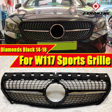 W117 Diamonds grille grill Gloss Black ABS Fits For MercedesMB CLA Class Front Bumper Kidney Grills without sign 2014-2018