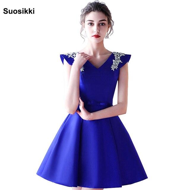 Suosikki Evening Dresses Beading Sequins Vestidos Cap Sleeve Vestido De Renda Black satin Lace Evening Dress Short 2018