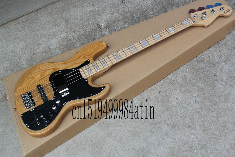 Free shopping factory custom jazz natural wood Sunburst 4 strings electric bass guitar with 9 V Battery active pickups @32