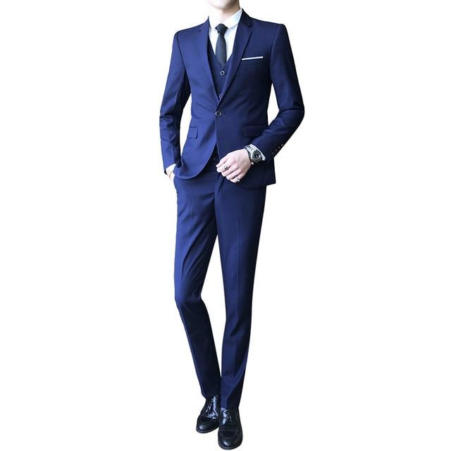 6bc6114acf15 Men's Suit Hot Sale Fashion High Quality Clothes Male Solid Color Long  Sleeves Fit Suits 3 Pieces(Blazer+Vest+Pant) Size S 4XL