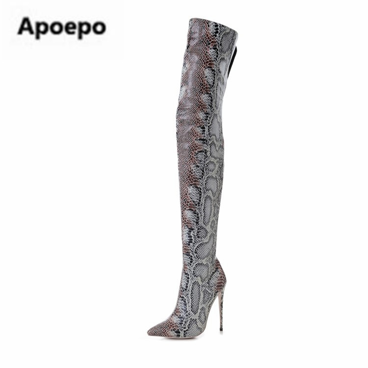 Apoepo brand shoes sexy Serpentine ladies long boots high heels boots women shoes thigh high boots pointed toe pumps with heel