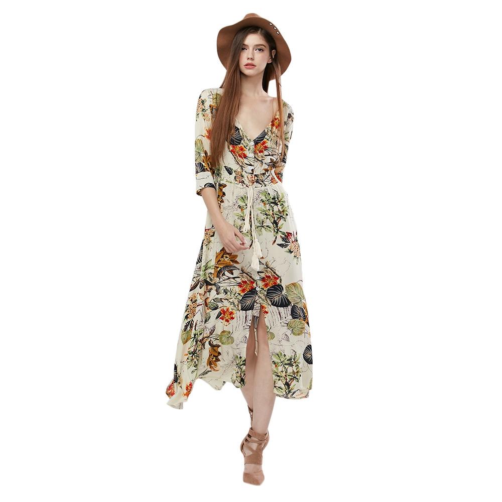 VESTLINDA Vintage Dress Allover Floral Print Elestic Waist Split Long Dress V Neck 34 Sleeve Robe Femme Women 2017 Summer Dress 3