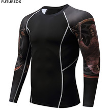Men Compression Shirt Skin Tight Thermal under Long Sleeve Jerseys Rashguard Crossfit Exercise Workout Fitness Patchwork T Shirt