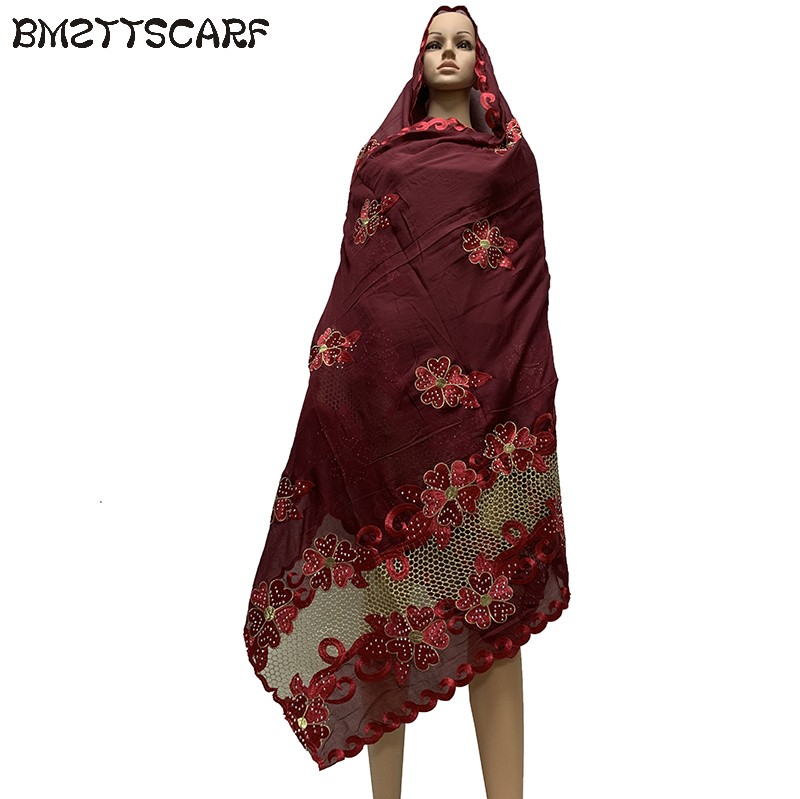 2019 New African Women Scarfs muslim embroidery soft cotton big   scarf   for shawls   wraps   pashmina BM746
