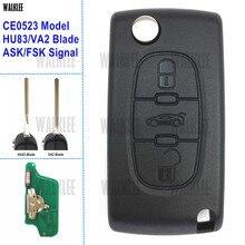 Walklee chave automotiva, chave sobressalente com 3 botões para peugeot 407 308 307 208, 207 e 7941, chip (ce0523, peça/fsk, va2/hu83)