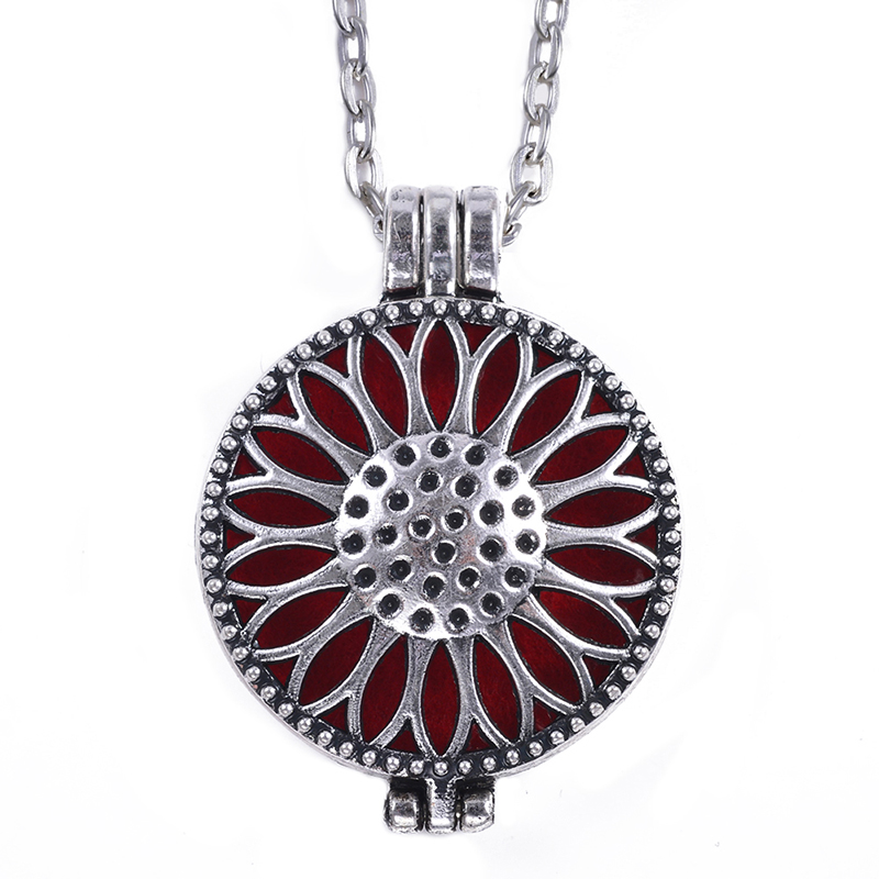 1Pc 30mm Antique Silver Aroma Locket Essential Oil Diffuser Locket Necklace For Gift With 70cm Chain and Felt Pads