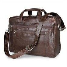 Large Size Genuine Leather Men's Briefcase Coffee Men Messenger Bags Business Portfolio Male Travel Bags Laptop Handbag J7319
