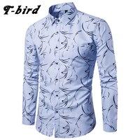 T Bird Summer Shirt Men Plaid Long Sleeves Shirts Men S Dress Shirt Camisa Masculina Male