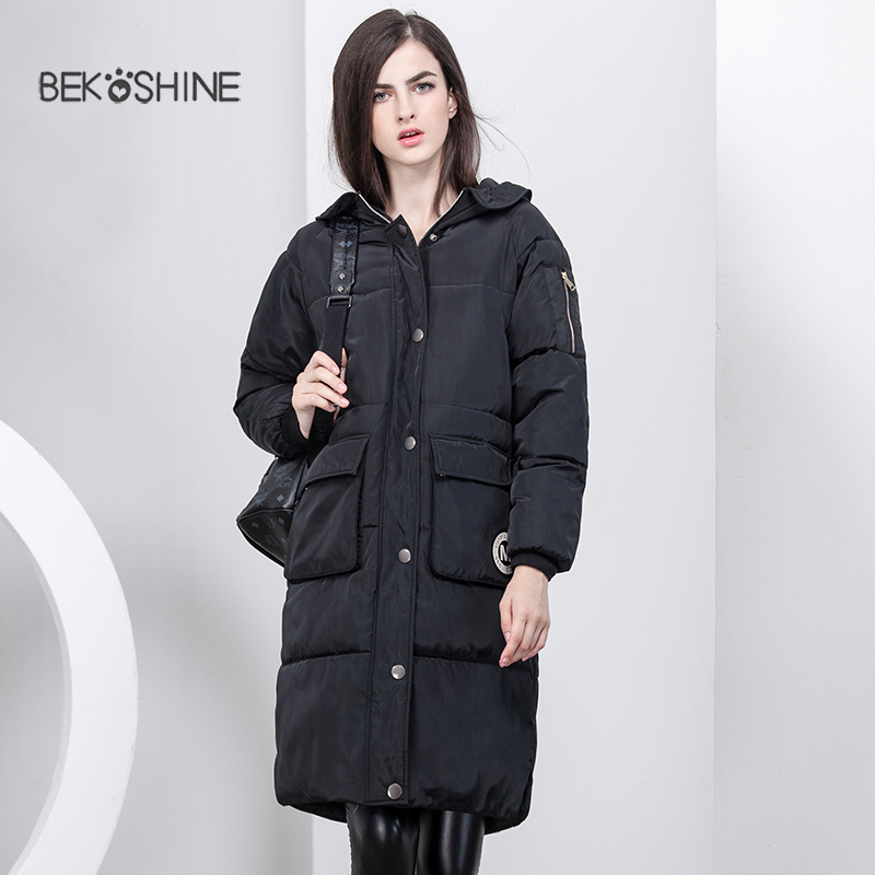 Bekoshine Fashion Ladies Coats Army Green 2016 Winter Coat Parka Long Thick Warm Down Cotton Jacket Women Jackets And Outwear