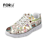 FORUDESIGNS Fashion Woman Lace Up Mesh Sneakers Cartoon Nurse 3D Printed Flats Shoes Students Girl Casual Spring/Autumn Footwear