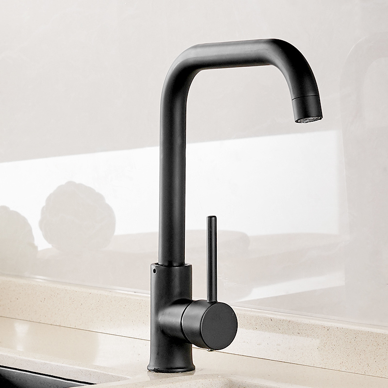 Fapully Kitchen Faucet 360 Rotate Black Mixer Faucet for Kitchen Rubber Design Hot and Cold Deck Mounted Crane for Sinks AEF0012 3