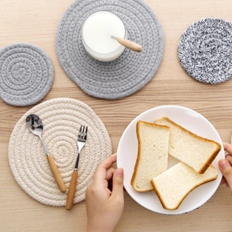 Cotton line kitchen table mats Non-slip anti-scalding insulation cup mats