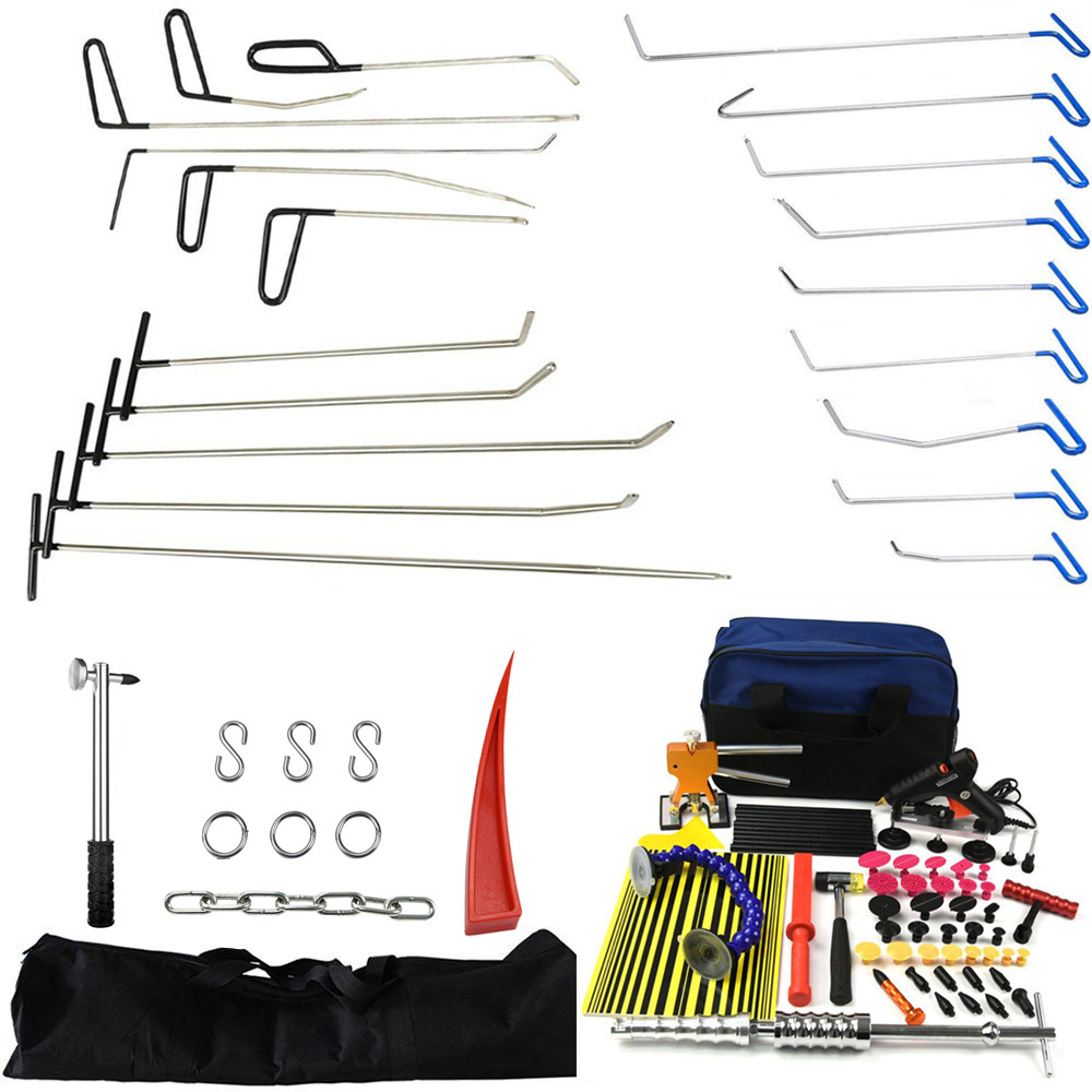 PDR Auto Body Rods Paintless Dent Repair Kits Hail Ding Removal Wedge Hook Dent Hammer Gule Gun PDR Line Board Puller Tabs tools