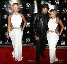 цена на Stunning High Neck With Crystal Beaded White Chiffon Formal Celebrity Dresses Cut Out Sexy Prom Party Gowns Adrienne bailon