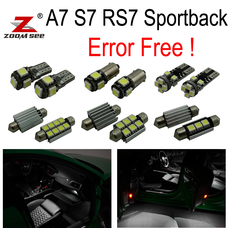 18pc canbus error free Reading LED bulb interior dome light kit package for Audi A7 S7 RS7 sportback (2012+) 15pc x 100% canbus led lamp interior map dome reading light kit package for audi a4 s4 b8 saloon sedan only 2009 2015