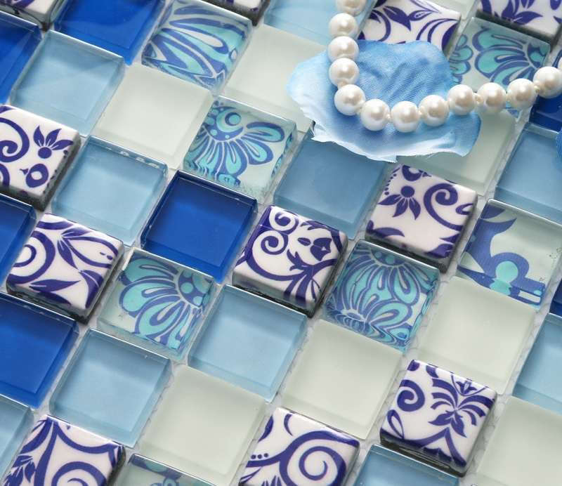 blue printed puzzle flower mosaic tiles EHGM1002 for kitchen ...