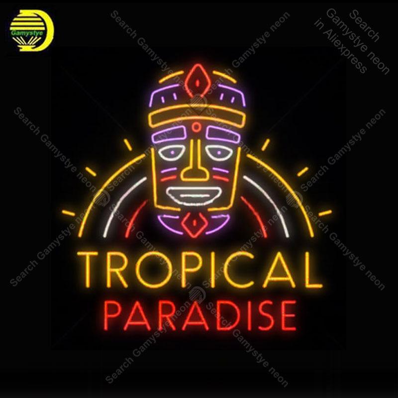 Paraíso Tropical Tiki Máscara Neon Sign Propaganda Sinais de Néon luminoso Luz Artesanato Publicidad anuncio Para Casa feitos à mão