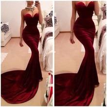 Sexy Burgund Velvet Mermaid Abendkleid 2016 Kleider Für Besondere Anlässe Formale Party Kleider Kleider