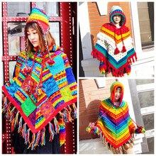 Новая мода шерсть плащ пальто с капюшоном Свободная верхняя одежда ручной работы национальные женские свитера Весна и зима