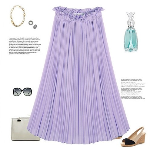 2016 Spring New Women's High Waist Pleated Ruffle Hem Chiffon Half-length Skirts Female Solid Skirt Women Vacation