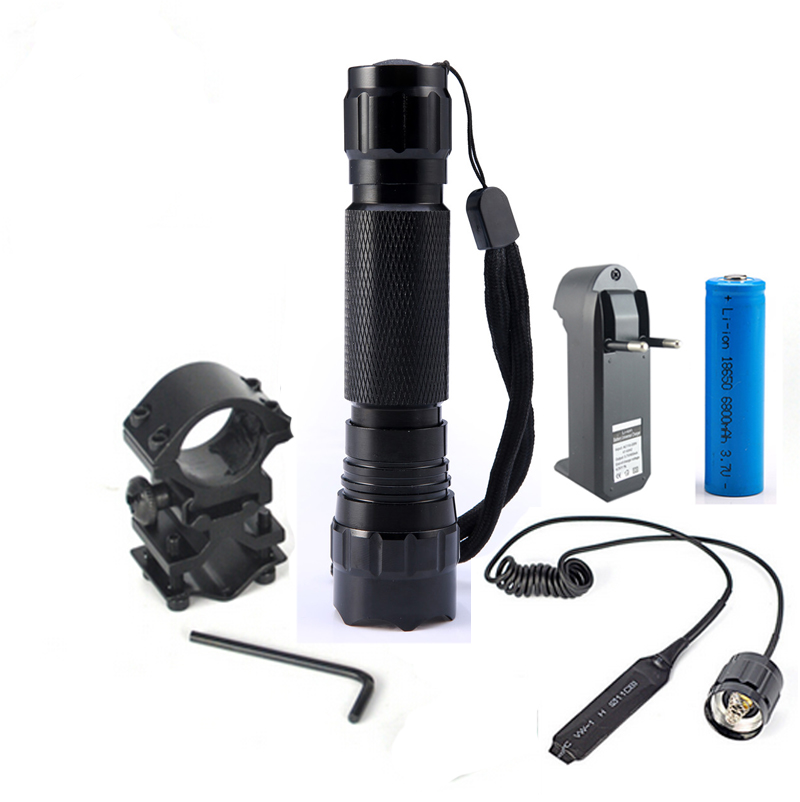 WF-501B Tactical LED Flashlight 2000 Lumens Lanternas Led Torch  Hunting Light With Gun Mount and Remote Pressure Switch 502d led tactical gun flashlight handgun torch light lamp hunting torch remote switch gun mount