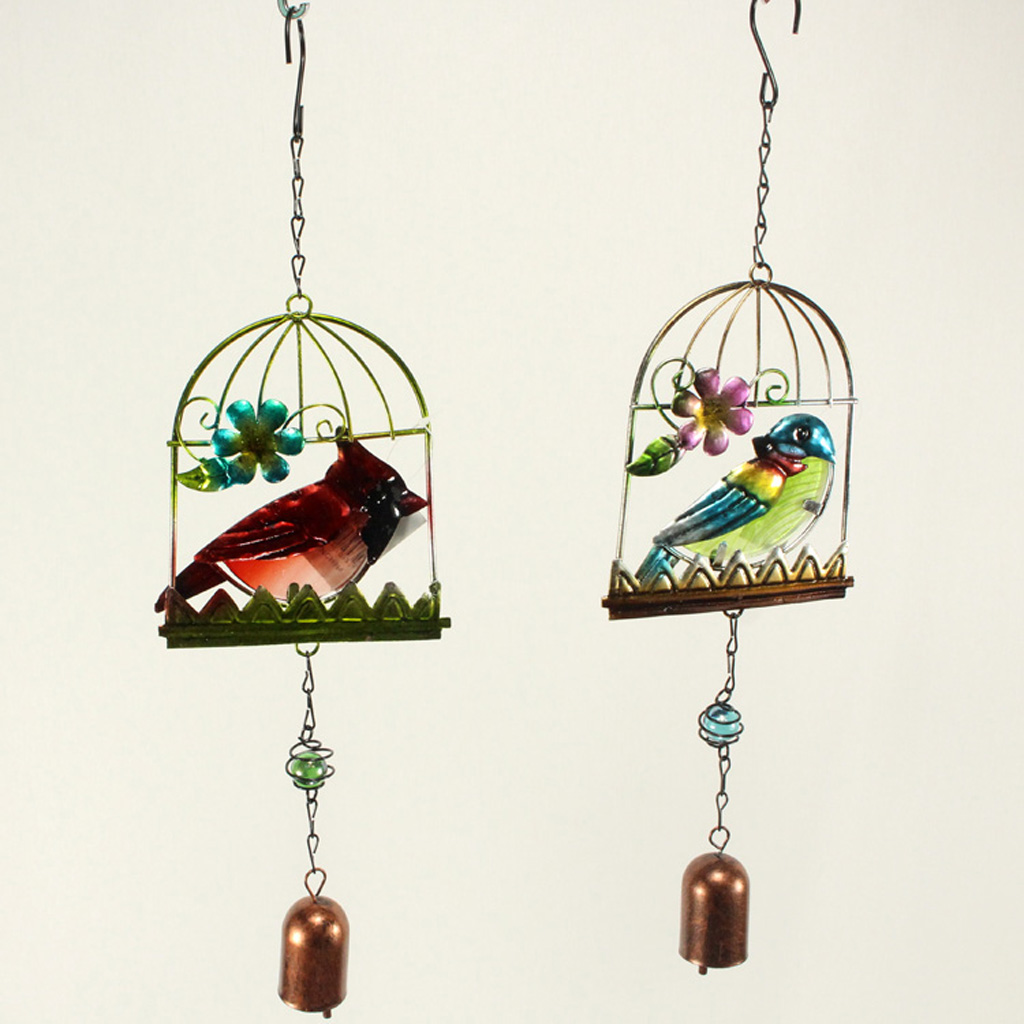 Vintage Cast Iron Metal Bird Wind Chime Decorative Ornaments Home Garden