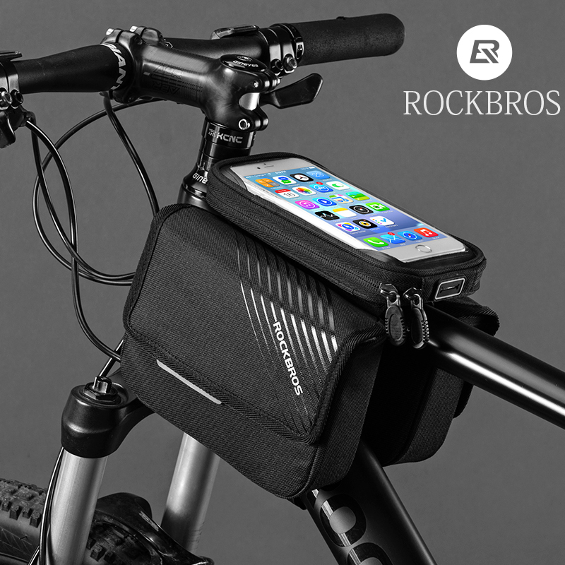 Lveal Bike Frame Bag Bike Handlebar Bag Waterproof Bike Pouch Holder Bag Cycling Front Top Tube Touchscreen Sun Visor Storage Bag Bicycle Phone Mount for Smartphones Below 6.0inch